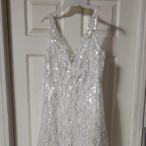 Dress white sequined, long